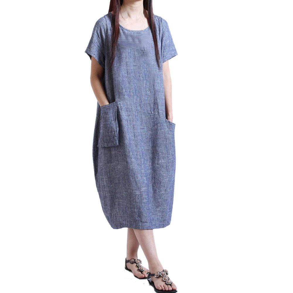 Women Boho Dress Oneck Casual Patchwork Maxi Dresses Layered Vintage Loose Short Sleeve Line Dress with Pockets (XL, Blue)
