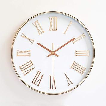 """ukey reloj de pared silencioso de cuarzo reloj de números romanos silencioso de 12 """""""