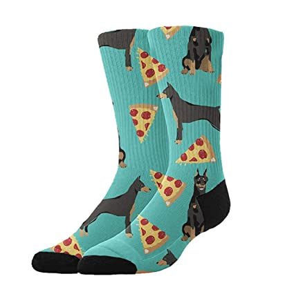 KYWYN Athletic Socks Doberman Pizza 3D Compression Socks Long Crew Socks,Great Gift for Men
