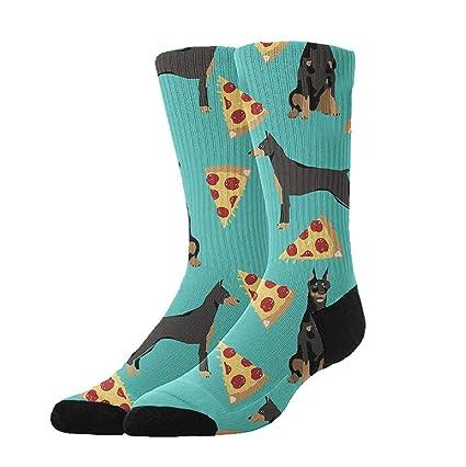 KYWYN Athletic Socks Doberman Pizza 3D Compression Socks Long Crew Socks,Great Gift for Men