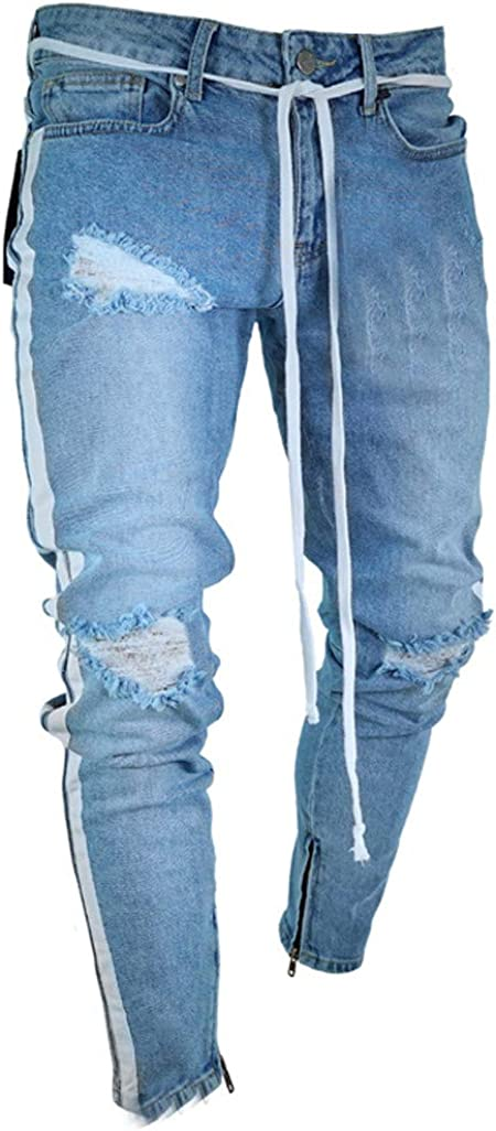 Mens Sweatpants F/_Gotal Men/'s Casual Slim Fit Ripped Jeans Distressed Denim Knee Holes Pants Trouser with Pockets