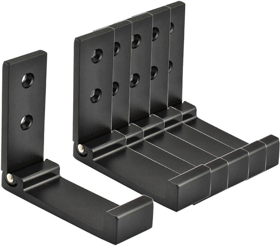 Mike Home 6 Pcs Folding Coat Hook Space Aluminium Towel Hook Wall Mounted Retractable Hook (Black)