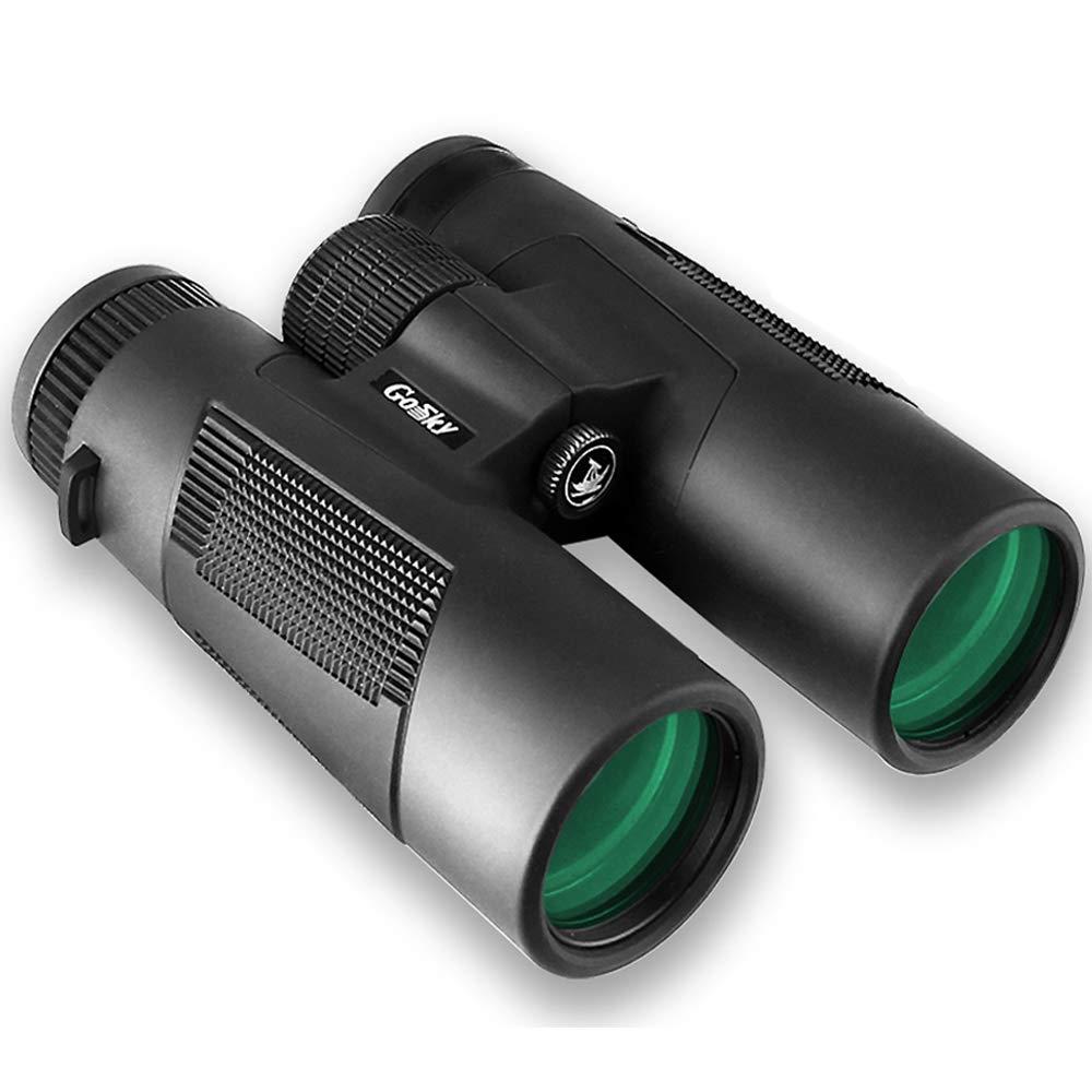 Gosky Roof Prism 10x42 Binoculars, Waterproof/Frogproof Binocular for Adults for Bird Watching Travel Stargazing Hunting Concerts Sports-BAK4 Prism FMC Lens (Blackbird 10x42) by Gosky