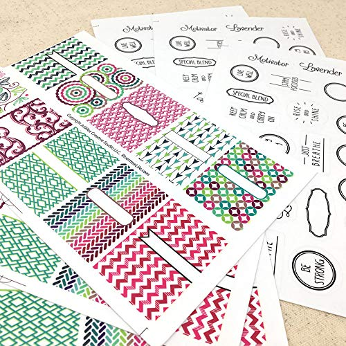 Fun Peel n Stick Labels & Stickers for DIY Lip Balm Tubes or Aromatherapy Essential Oil Inhalers - 6 Sheets - 114 Stickers by Rivertree Life