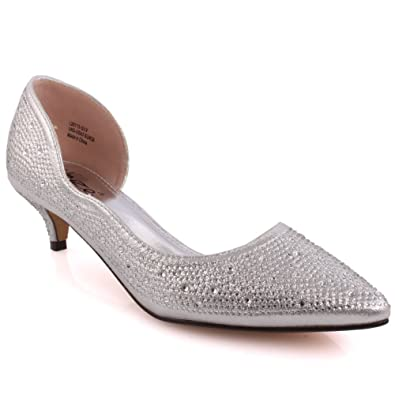 f83ccaa92d7 Unze Women  Agnis  D Orsay Pointed-Toe Mid Low Heel Party Prom Get ...