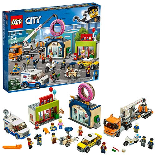 LEGO City Donut Shop Opening 60233 Store Opening Build and Play with Toy Taxi, Van and Truck with Crane, Easy Build with Minifigures for Boys and Girls, New 2019 (790 Pieces)