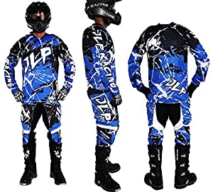 Traje Niño 10–12Años Moto Cross Quad Montaña BMX MTB Pantalón Guantes Maillot Azul JLP Racing Talla 26us/XL