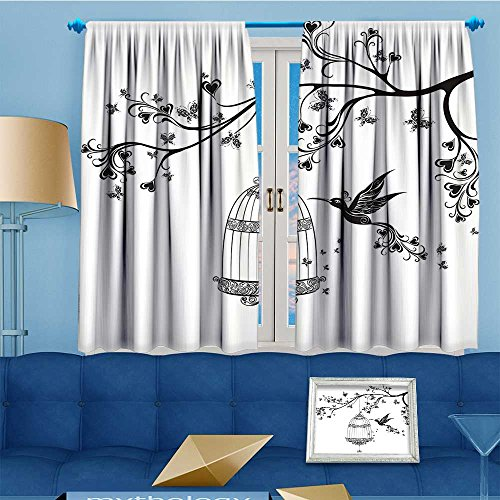 Design Print top Thermal Insulated Birds Out of Cages Birdcage on Branch Wings Tail Romantic Heart Black Linen Room Darkening Curtains 108