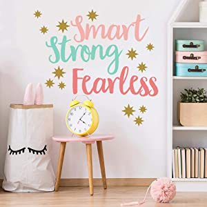 Creative Inspirational Quote Wall Decals, Colorful Smart Strong Fearless Wall Decor, Gold Stars Wall Stickers, Motivational Sayings Murals Wallpaper for Classroom Playroom Kids Room Nursery Wall Decor