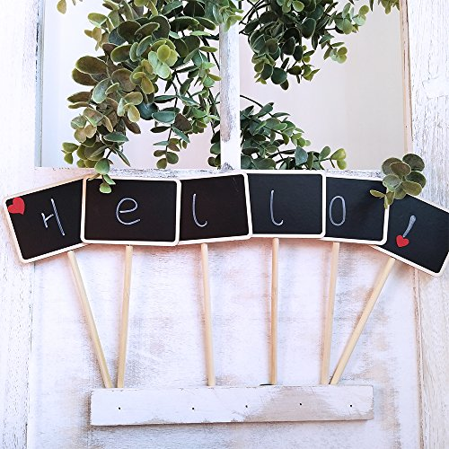 Supla 20 Pcs Mini Chalkboard Tabletop Signs with Stand Place Holders Party Wedding Message Memo Note Board Buffet Table Number Name Plant Signs Candy Bar Food Dessert Markers Table Setting Signs by Supla (Image #5)