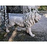 Design Toscano KY1671 Regal Lion Sentinel of Grisham Manor Outdoor Entryway Garden Statue, Right, 37 Inch, Antique Stone