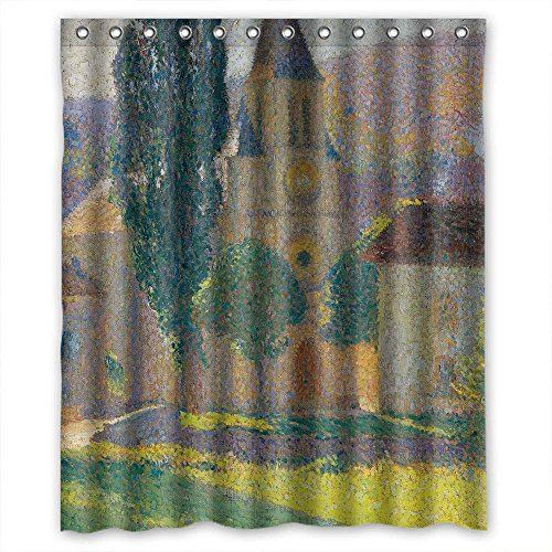 MaSoyy Width X Height / 60 X 72 Inches / W H 150 By 180 Cm Henri Martin - L Eglise De Labastide Du Vert Bath Curtains Polyester Fabric Ornament And Gift To Couples Mother Teens Kids Boys (Vert Bath)
