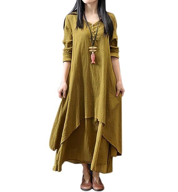 Vestido Tallas Grandes Mujer Verano Asimetricos Vestidos de Premama Manga Larga Sólida para Fiesta Coctel Playa