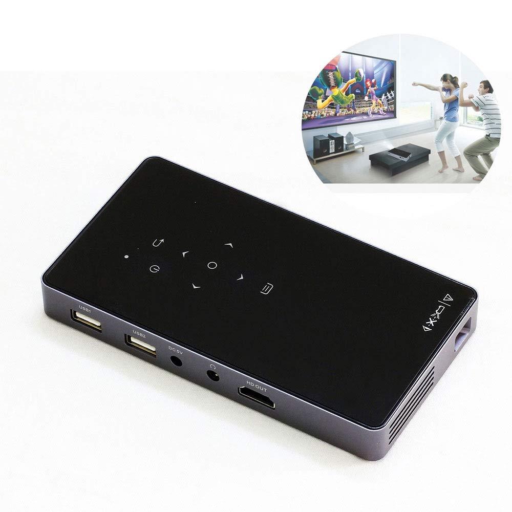 ミニプロジェクター、ホームビデオシネマ用ポータブルワイヤレスDLPプロジェクター、内蔵バッテリーサポートAndroidシステム、Wifi、1080 P、Bluetoothスピーカー、HDMI USB TFデバイス (色 : ブラック) B07QZM5KCB ブラック