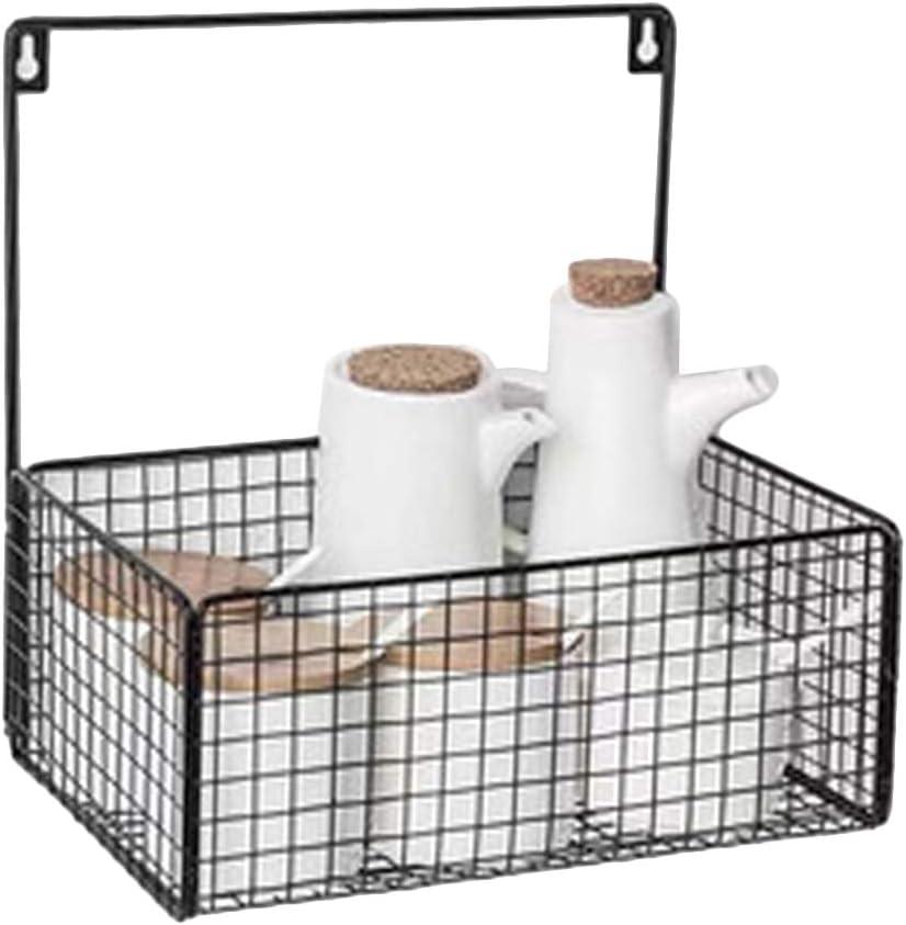 JUSTDOLIFE - Cesta de hierro para colgar en la pared, estante de almacenamiento para baño, negro, talla única