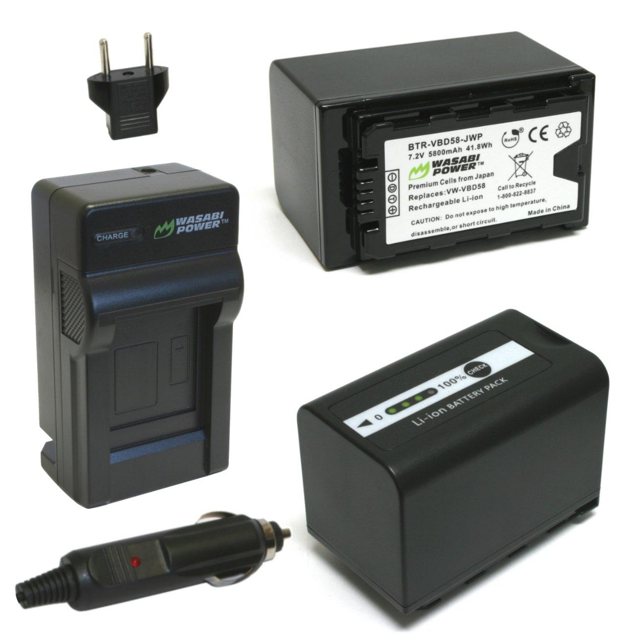 Wasabi Powerバッテリーと充電器for Panasonic vw-vbd29、vw-vbd55、vw-vbd58、vw-vbd78 B00QHNS7YU  Charger + 2 Batteries (VBD58)
