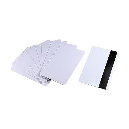 10 pcs en blanco Tarjeta de banda magnética de 3 Pistas HiCo ...