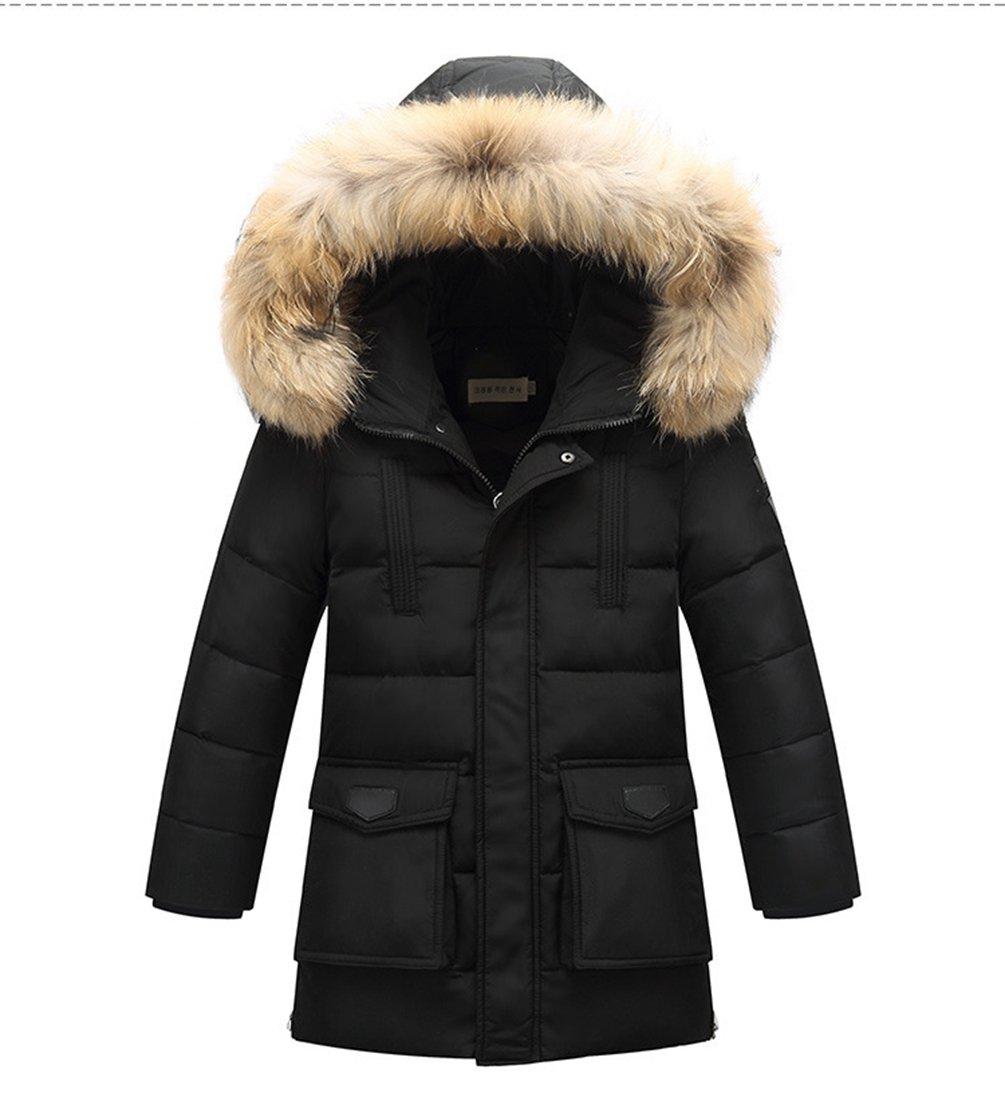 Menschwear Boy's Down Fur Hooded Jacket Winter Warm Outwear Winter Coat (160,Black)