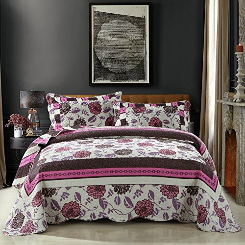 DaDa Bedding Bohemian Chrysanthemum Vines Reversible Patchwork Quilted Bedspread Coverlet Set - Bordered Bright Vibrant Colorful Floral Hot Pink White Purple and Brown Print - King - 3-Pieces