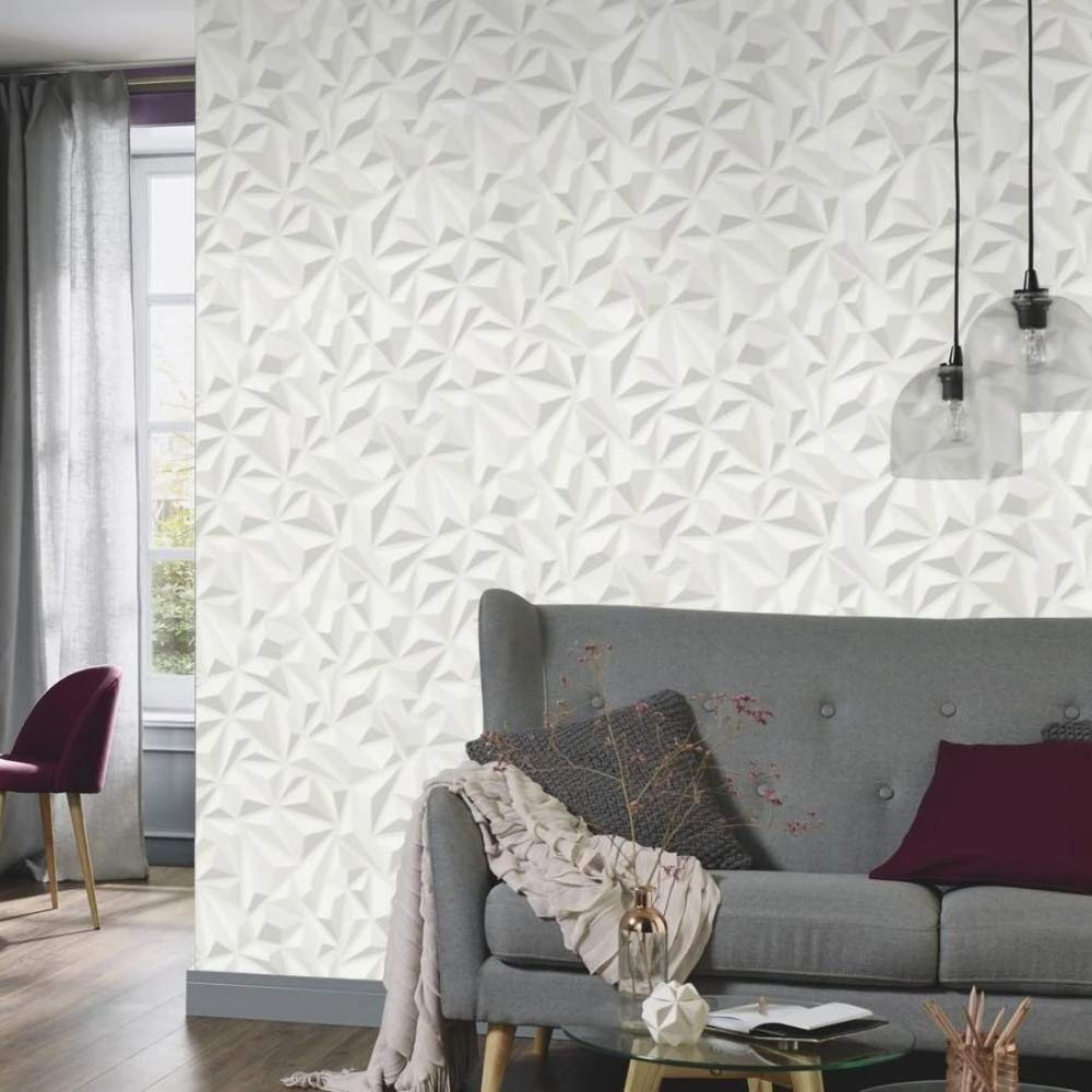 3D Effect White Grey Geometric Wallpaper Textured Luxury Vinyl Modern Erismann