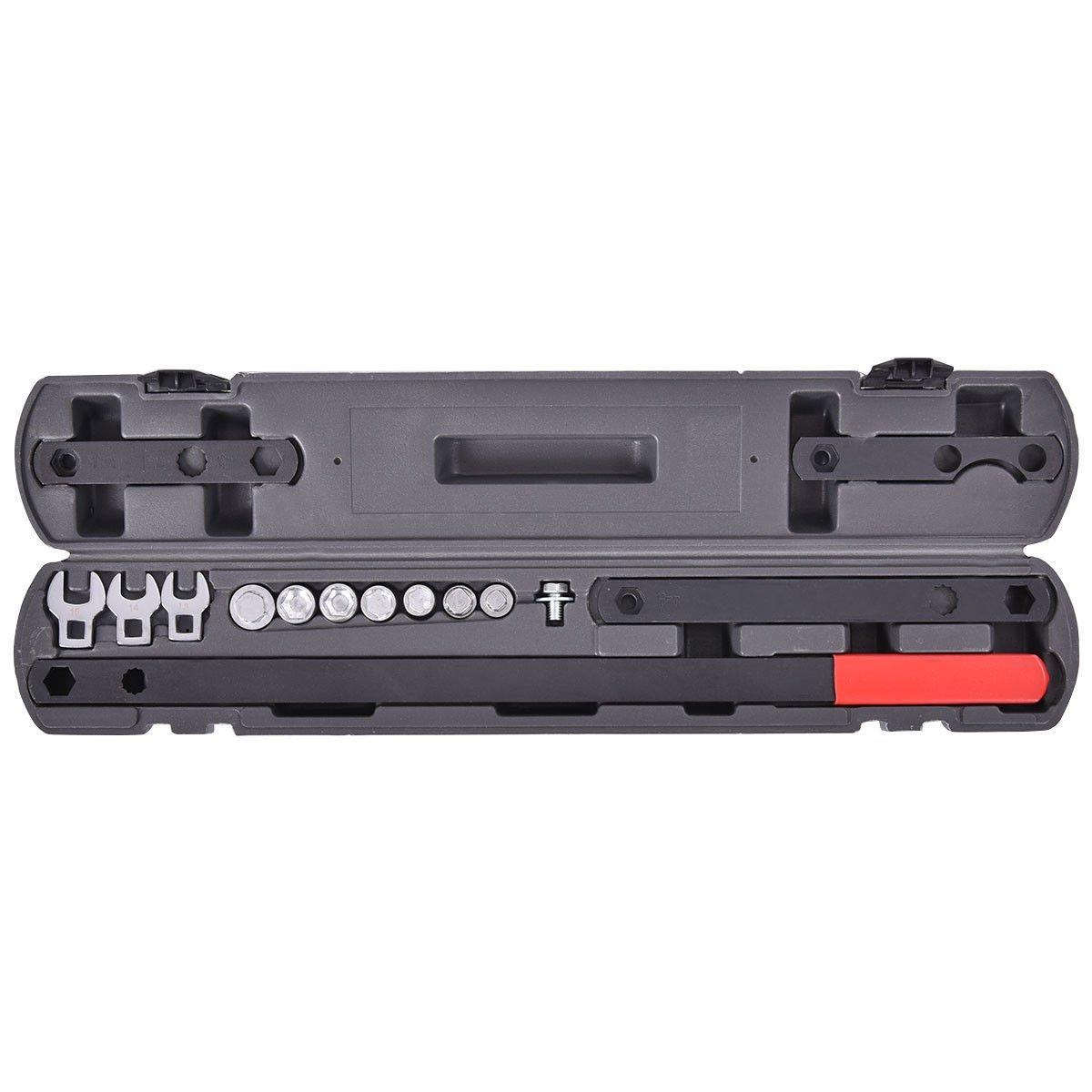 Goplus 16PC Wrench Serpentine Belt Tool Set Adjuster Tightener Wrench Tool Universal 3/8'' 1/2'' Drive