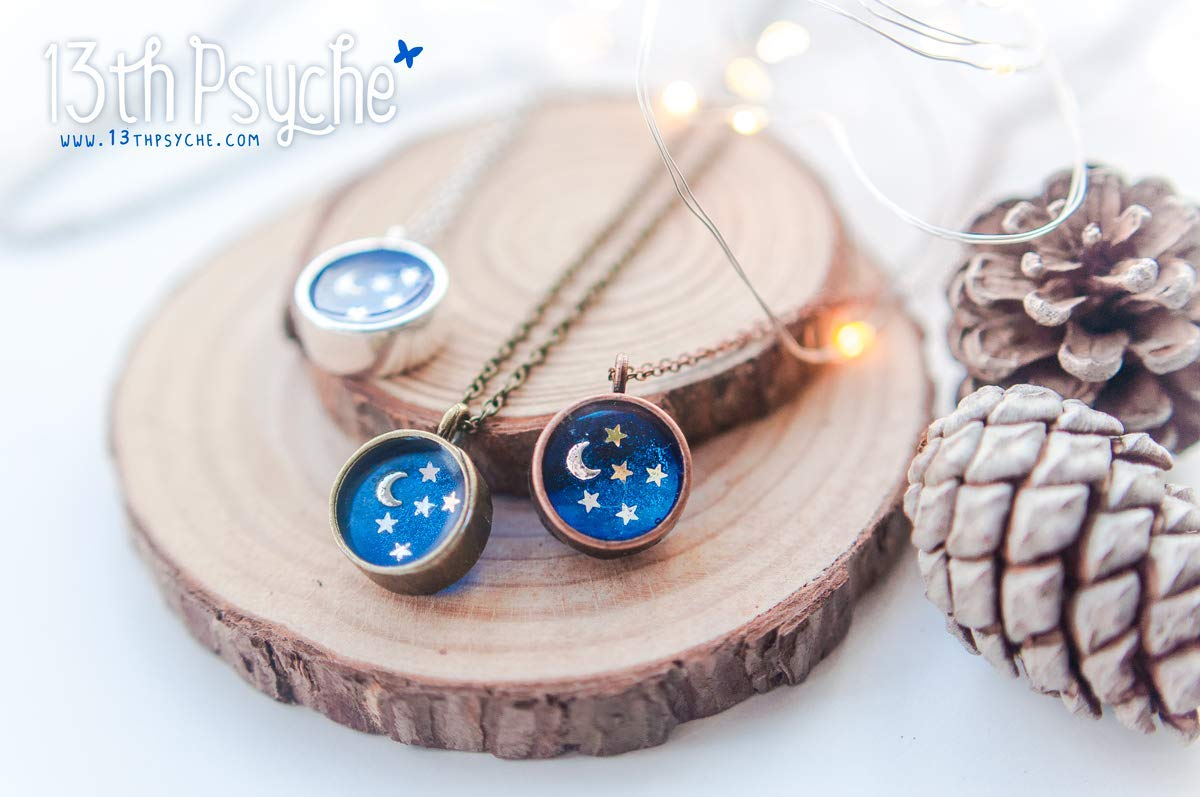 Blue Pendant Universe Necklace Resin jewelry Blue Navy Blue Pendant Celestial Jewelry Blue Necklace gift for Girlfriend Blue Jewelry
