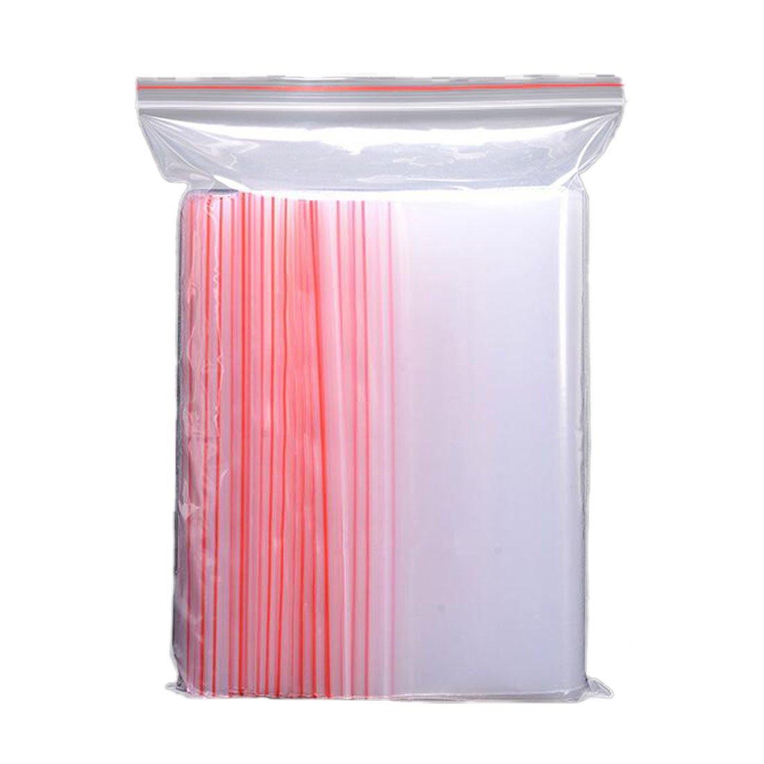 Rongwen Lot de 100sachets refermables avec fermeture zip avec ligne Rouge, Plastique, 4*6cm