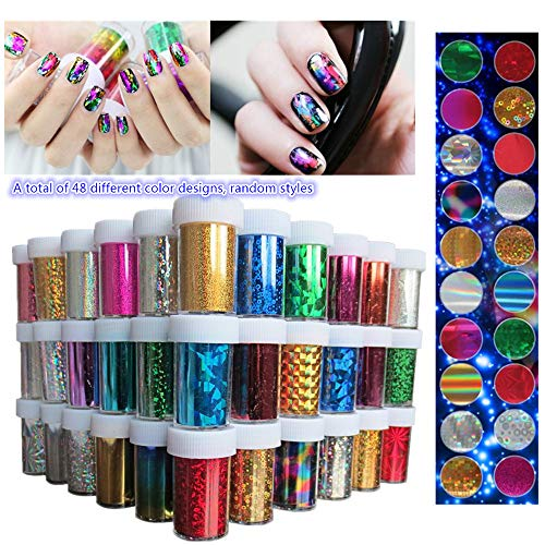 XICHEN 48 Colors Starry Sky Stars Nail Art Stickers Tips Wraps Foil Transfer Adhesive Glitters Acrylic DIY Decoration 48PCS 48 Colors Each volume Specification 4cm100cm ()