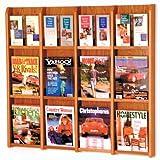 Wooden Mallet 12-Magazine/24-Brochure Divulge Wall Display with Brochure Inserts, Medium Oak