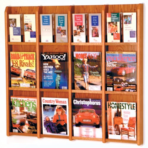 DMD Magazine Rack and Literature Display, Wall Mount, Holds 12 Magazines or 24 Brochures, Medium Oak Wood Finish