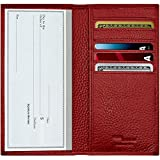 Genuine Leather Checkbook Cover For Men & Women - Checkbook Covers with Card Holder Wallet RFID Blocking
