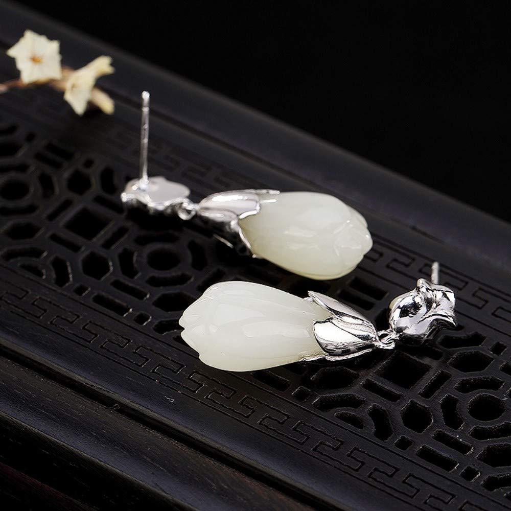 THTHT Vintage Earrings S925 Sterling Silver Women Magnolia Elegant Temperament High-End Gift Jade Earrings