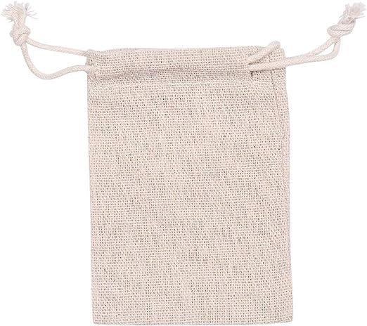 Bolsa de tela de yute de algodón con cordón doble, reutilizable ...