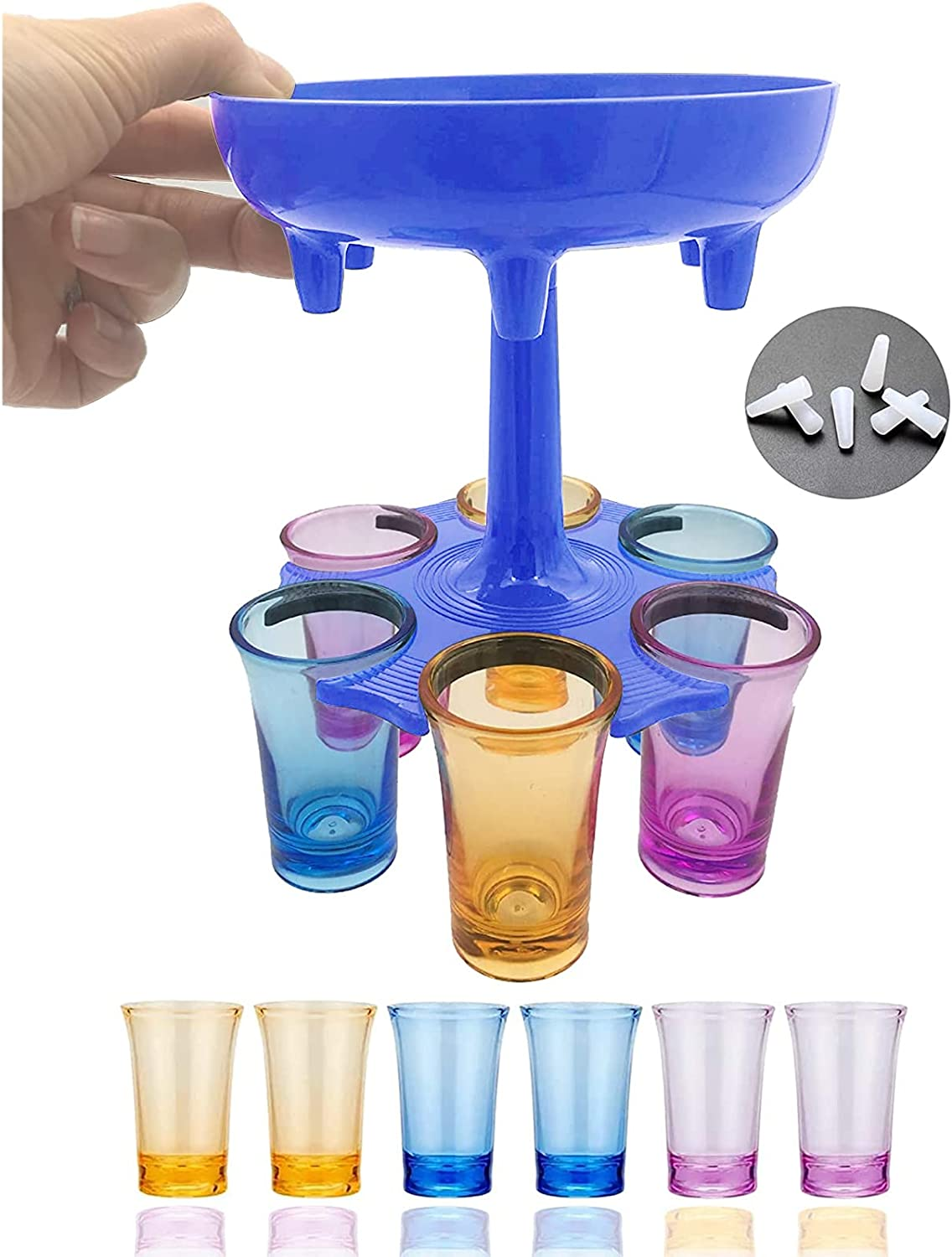 6 Shot Beverage Dispenser Stand, Shot Buddy Glass Dispenser Holder Rack, Water Drink Glass Dispenser Filling Alcohol Liquor Beverage Cocktail, Perfect for Party Carnival(Blue)