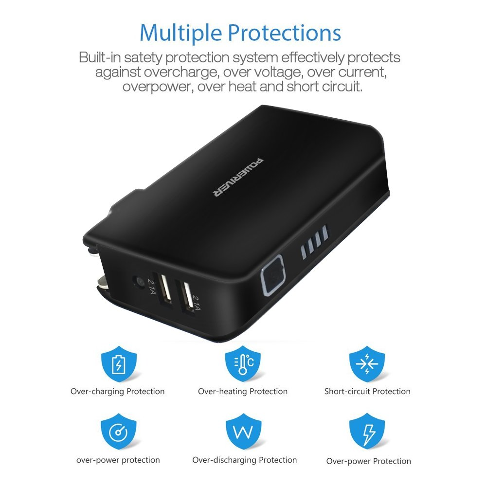 Power Bank Battery, Portable Charger and Wall Charger,Poweriver 2-in-1 5000mAh with Foldable AC Plug for iPhone, iPad, Android, Tablets, Samsung Galaxy and More-Black