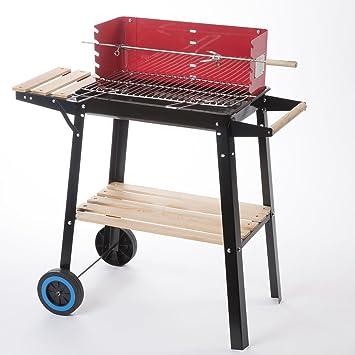 Barbacoa de carbón rectangular rojo con ruedas, Tablet y soporte de madera 86 x 45