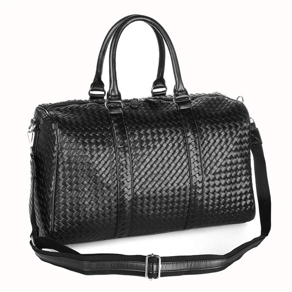 シンプルでスタイリッシュなユニセックスハンドバッグ手織りトラベルバッグ大容量ジッパーレジャートラベルバッグ 旅行用ハンドバッグ (色 : ブラック)  ブラック B07QK5RZRW