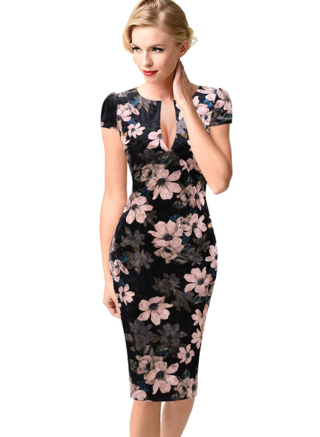 Black Velvet Multi Floral Print 2 VfEmage Womens Sexy V Neck Party Cocktail Work Slim Fitted Pencil Bodycon Dress