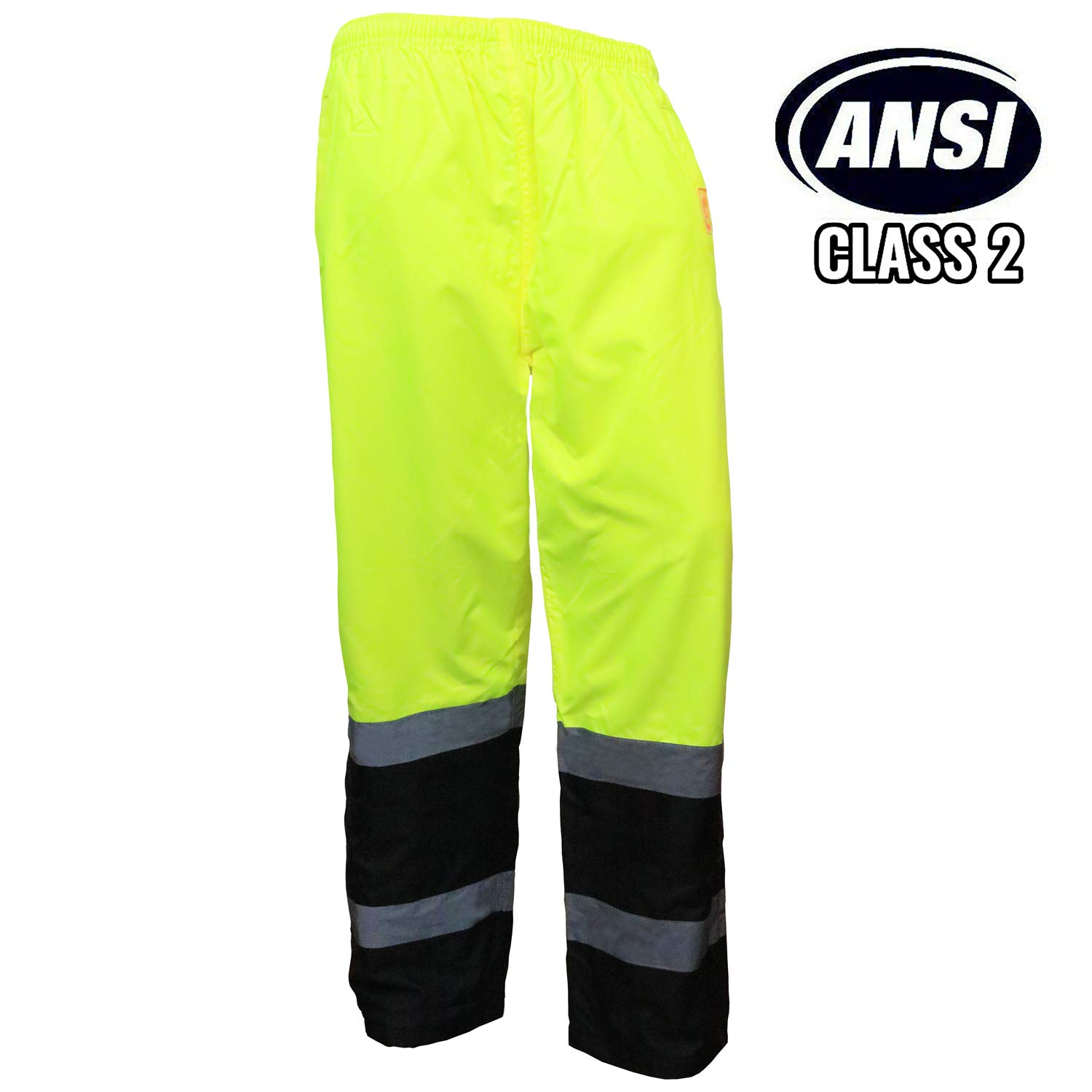 Troy Safety New York Hi-Viz Workwear WP0212 Insulated thermal lined Waterproof Rain Pants Over Trousers (LIME, 4XL)