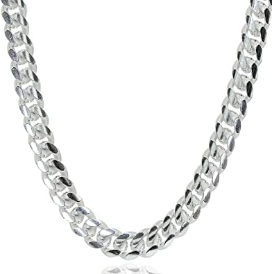 *UK* Stainless Steel Mens 5mm Thick Curb Silver Chain 22 Inch Necklace Gift Link