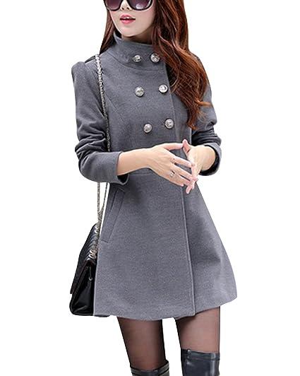 Mujeres medio largo Moda Abrigo de Lana Doble Filas de Botones Chaqueta mezclada de lana Gris