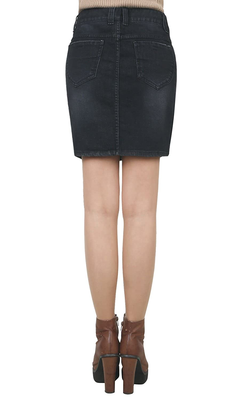 3d39745513cd ililily Vintage Distressed Washed Cotton Black Denim Slim Fit Pencil Mini  Skirt at Amazon Women's Clothing store: