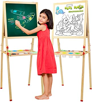 Four Accessories All-in-One Wooden Children Art Easel Double Side Toddler Painting Board Blackboard Whiteboard Chalkboard with Magnetic Snap Eraser Kids Easel