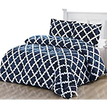 Printed Comforter Set with 1 Pillow Sham - Luxurious Soft Brushed Microfiber - Goose Down Alternative Comforter by Utopia Bedding (Navy, Twin)