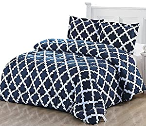Printed Comforter Set (King, Navy) with 2 Pillow Shams - Luxurious Soft Brushed Microfiber - Goose Down Alternative Comforter by Utopia Bedding