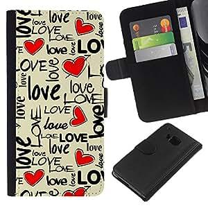 Planetar® Modelo colorido cuero carpeta tirón caso cubierta piel Holster Funda protección Para HTC One M9 ( Amor del texto del corazón de San Valentín beige miel )
