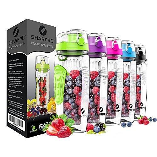 sharpro Fruit Infuser Water Bottle - Large 32 Oz -