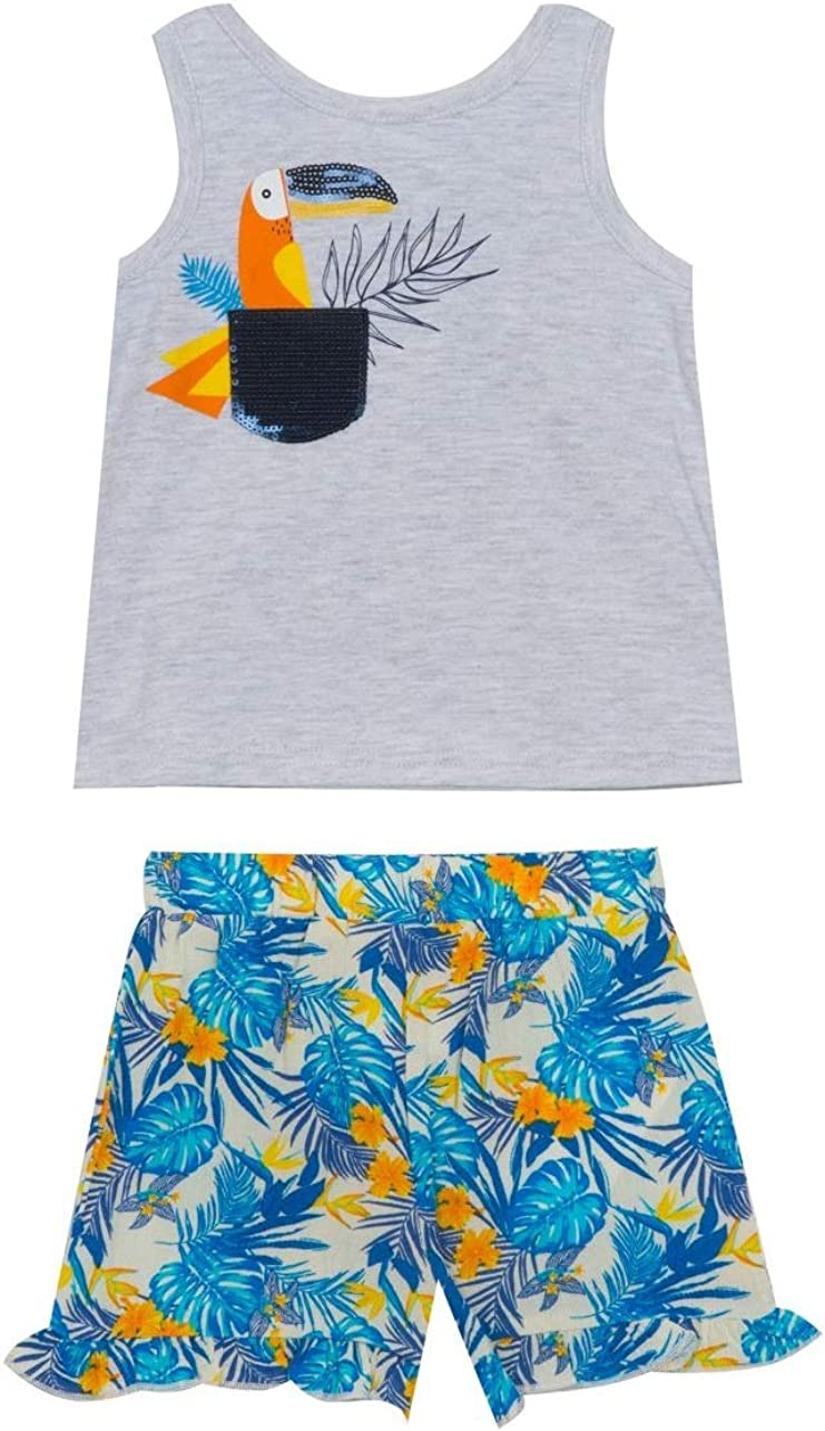Rare Editions Grey Sequined Tropical Toucan Shorts Set 12m-24m