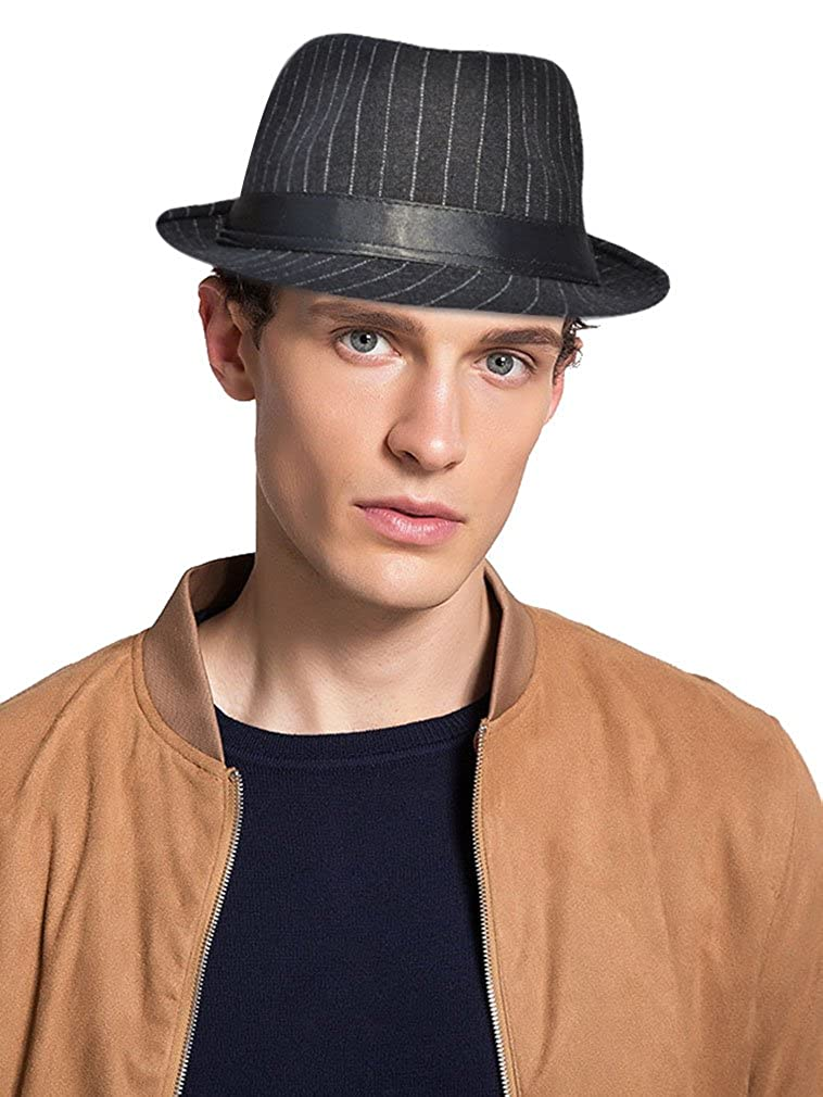 2fb6653a2 Lullaby Mens Womens Classic Short Brim Structured Gangster Trilby Fedora Hat  at Amazon Men's Clothing store: