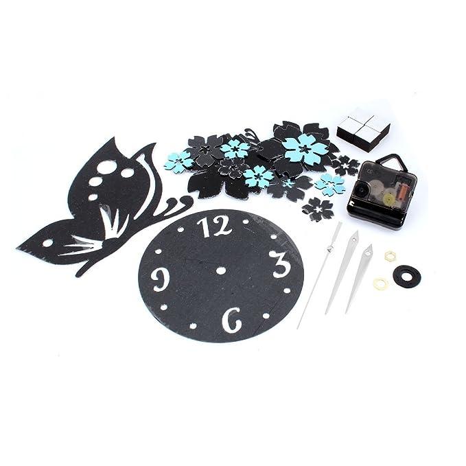 Amazon.com: eDealMax Espejo 3D Flor de Mariposa del reloj de pared de DIY etiqueta engomada del hogar decoración de la habitación: Home & Kitchen
